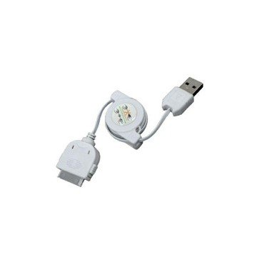 CABLE DE CARGA Y SINCRONIZACION PHOENIX RETRACTIL PARA DISPOSITIVOS APPLE IPHONE / IPAD / IPOD 1M  BLANCO