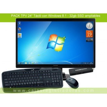"Pack TPV con Monitor Táctil 24""  Viewsonic TD2420 + Micro Ordenador Windows 8.1 + Teclado y Raton inalambricos"