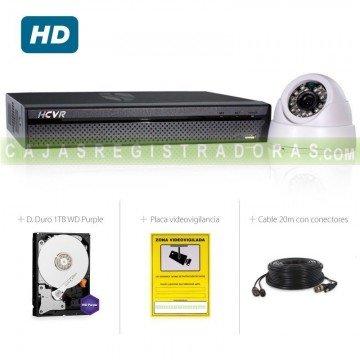 Kit Video vigilancia 1 cámara HD 720P + Grabador Híbrido HD 4 Canales con disco duro 1TB - HDCVI