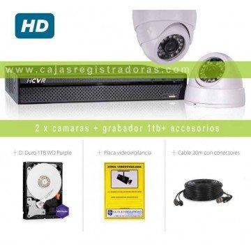 Kit HDCVI con 2 Cámaras Interior HD 720P más Grabador Hibrido HD de 4 Canales Tiempo real y HDMI