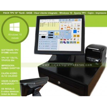 "Pack TPV 15"" Táctil - 64GB - Visor Cliente - Windows 10 y Sysme TPV con cajón e impresora"