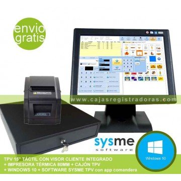 Pack TPV KT-700 con Software Sysme TPV y Windows 10 + Cajon e impresora térmica