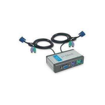 DATA SWICH D-LINK KVM 2 PC MONITOR TECLADO RATON CON CALBES
