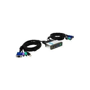 DATA SWICH D-LINK KVM 2 PC MONITOR TECLADO RATON CON CABLES