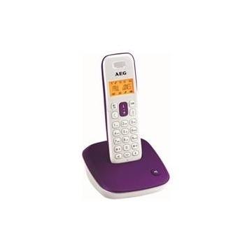 TELEFONO INALAMBRICO DECT AEG VOXTEL D-100 DISPLAY LCD MORADO Y BLANCO