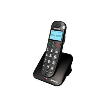 TELEFONO INALAMBRICO DECT DAEWOO DTD-7100B / MANOS LIBRES / PANTALLA LCD / TECLAS GRANDES / NEGRO