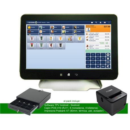 "Pack TPV Android Táctil 15"" + Siodroid + Impresora + Cajón TPV"