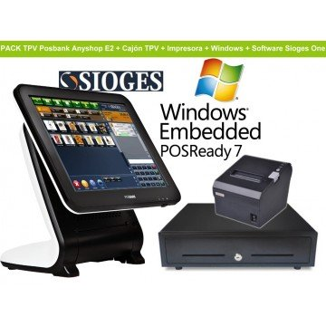 Pack TPV Posbank Anyshop E2 - Intel D2550 + Impresora + Cajon + Software y Windows