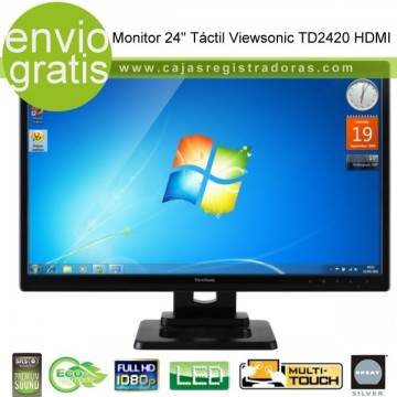 "Monitor Táctil 24"" Viewsonic TD2420 Multi touch - Full HD 1080  y Altaveoces integrados"