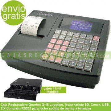 Caja Registradora Quorion Q-18 con cajon 41 x 41 conexión USB y RS232 para Balanzas y Lector codigo barras