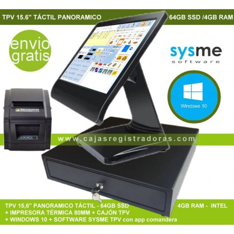 Pack TPV POS KT-100 Táctil 15,6 panoramico con Sysme TPV y Windows 10 + Cajon e impresora térmica