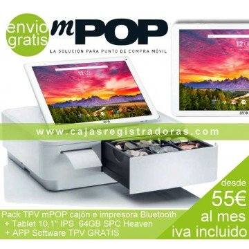 "mPOP Pack TPV con Impresora y Cajón Bluetooth + Tablet 10,1"" 64GB con Software TPV Gratis"