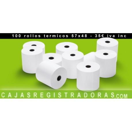 100 Rollos Papel Térmico 57 x 48 mm para caja registradora