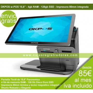 """TPV OKPOS W-156 15,6"""" J1900 4GB 128GB CAP IMPR.+ MSR Negro"""