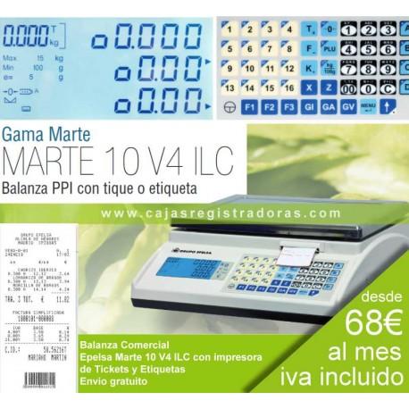 Balanza comercial Epelsa Marte 10 V4 ILC con impresora de tickets y etiquetas