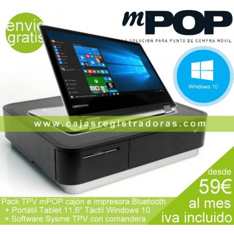 mPOP Pack TPV con Impresora y Cajón Bluetooth + Portátil Convertible W10 y Sysme TPV
