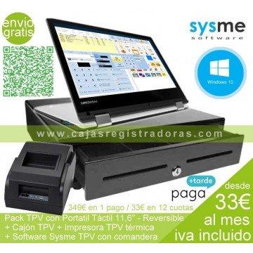 """Pack TPV Táctil 11,6"""" W10 y Software TPV + Cajon TPV + Impresora TPV"""