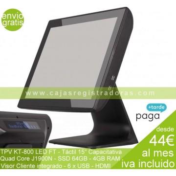 """TPV KT-800 LED FT - TPV Táctil 15"""" Capacitiva - SSD 64GB - 4GB RAM - J1900N Quad Core"""