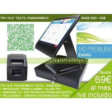 Pack TPV POS KT-100 Táctil 15,6 para Peluqueria y Estetica con No Problem y Windows 10 + Cajon e impresora térmica