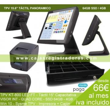 Pack TPV KT-800 Visor Cliente con Software Sysme TPV y W10 + Impreosora + Cajón TPV