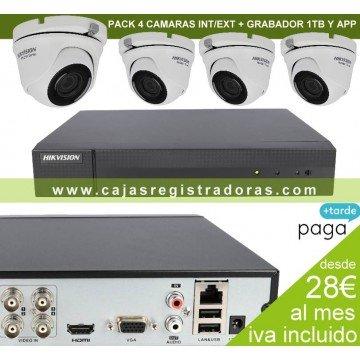 Kit Videovigilancia con 4 Cámaras + Grabador 5en1 con hd 1Tb