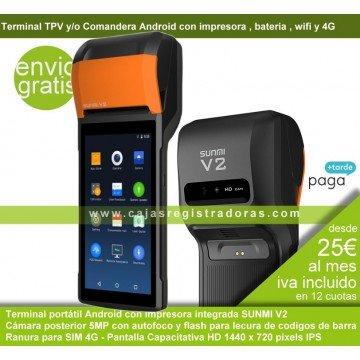 TPV Portátil Android Sunmi V2 con impresora integrada