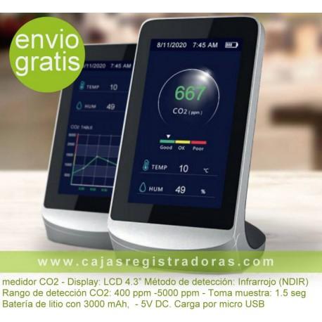 """Medidor C02 con display LCD 4,3"""" y bateria litio"""