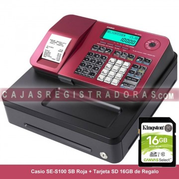 Caja Registradora Casio SE-S100 SB Roja (Cajón Pequeño)