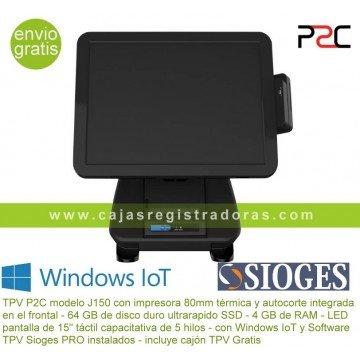 TPV P2C J150 J1900 impresora integrada + Windows IoT y Sioges PRO
