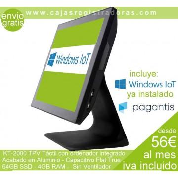 TPV KT-2000 ALUMINIO, Táctil con Windows IoT  CAPACITIVO FLAT TRUE, 4GB DDR3, 64GB SSD MSATA, NEGRO