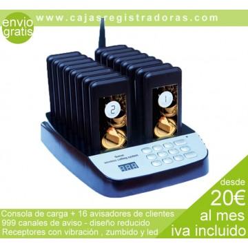 Avisadores de Clientes - Consola de carga y 16 receptores