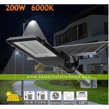 Farola solar 2500 Lúms - 200W panel orientable 6000K exterior ion-litio panel 25W