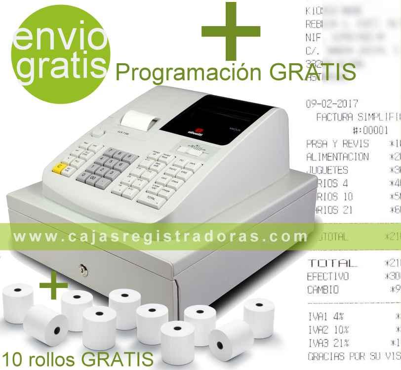 Caja Registradora Olivetti ECR 7190 con Programación y 10 Rollos
