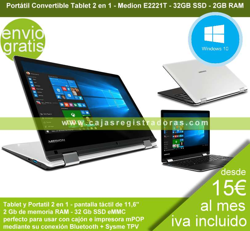 Medion Portátil Convertible 2 en 1 Táctil 11,6 pulgadas Akoya E2221T Win10