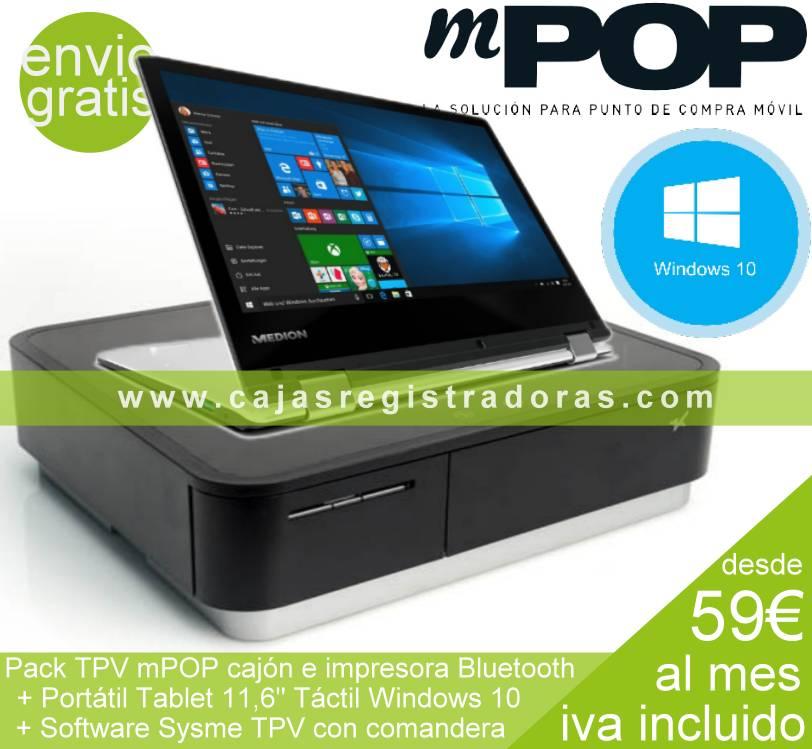 mpopo Pack TPV Windows 10 con portatil convertible y sysme tpv